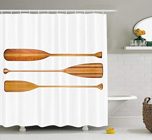 gwegvhvg Ruder Duschvorhang von DREI traditionellen hölzernen Kanu Paddel mit unterschiedlicher Form der Klingen exotische Sport Stoff Badezimmer Dekor Set mitSandbraun -