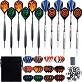 Eaiitty Steel Dartpfeile Set, 12 Stück 25g Metallspitze Steel Darts mit Aluminum Schafts, Iron Barrels, 36 Darts Flights, Steel Pin, 20 Anti-Lose Gummiringe für Partyspiele
