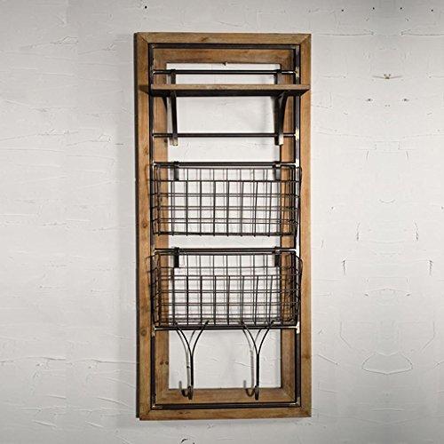 SADWF Loft Industriellen Stil Schmiedeeisen Regal Wandbehang Korb Wand Ablagekorb Restaurant Wand Zeitung Rack, 100 * 41 * 15 cm, Eisen + Holz