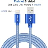 Phonokart MSD Fishnet Apple Iphone Lightning Cable for Apple Devices up to 2 Amps iPhone Cable- 1 Metre (Blue)