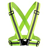 Frisch Verstellbar Running Reflex Gear Sicherheit Weste Taille Gürtel Streifen Jacke Hohe Sichtbarkeit für Outdoor Joggen, Radfahren, Laufen, Motorrad Reiten und Grün Einheitsgröße Grün
