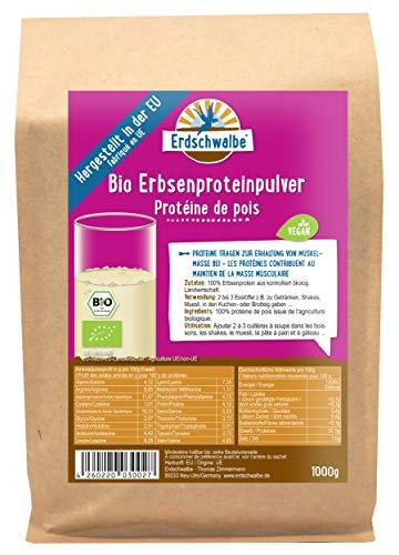 Erdschwalbe EU Bio Erbsenprotein - Hergestellt in der EU - 87{6b796543a4239c1b1367e23a2cd524805aadc6e7c20bc808cff3e1f780ac2a56} Proteingehalt - Veganes Eiweißpulver - 1 Kg