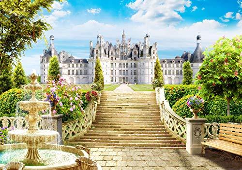 wandmotiv24 Fototapete Garten Windsor Schloss Brunnen England Blumen Sitzbank UK Enlgand Treppe M1232 L 300 x 210 cm - 6 Teile Wandbild - Motivtapete - Tapete