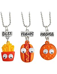 "Elegante Rose, set di 3 collane in lega con ciondoli a forma di hamburger, hot dog e patatine fritte, con scritta in lingua inglese ""best friends forever"", ottimo regalo per amici"
