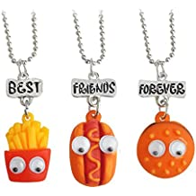 "Elegant Rose Conjuntos de 3 unidades Aleación Collares ""best friends forever and ever"" Hamburger Hot Dog Potato Creativo Friendship Regalo para Amigos Niñas"