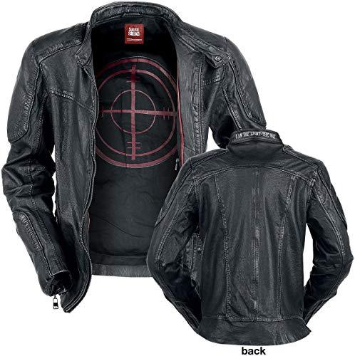 Jacke Kostüm Leder - Suicide Squad Deadshot Lederjacke schwarz XL
