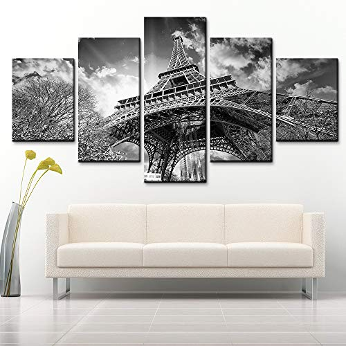 5 Panel Leinwand Wand Kunst HD-Druck Malerei Französischer Schwarzweiss-Turm Poster Bild Wohnzimmer Wohnkultur,A,20×35×2+20×45×2+20×55×1 - Französisch-kunst-malerei