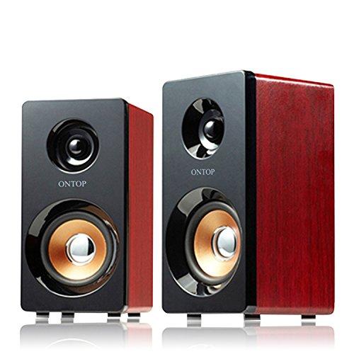 Altoparlanti di legno Alimentazione USB Red Grana del legno Hi-Fi a basso Bass Pure Voice