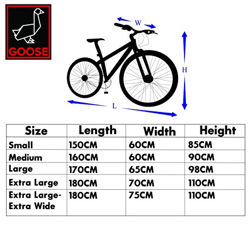 Bicycle Cover – Goose – Premium Grade Lockable Bike Cover – Heavy Duty 210D Waterproof Oxford Fabric – The Ultimate Cycle Protection – Black And Blue – Various sizes available, including twin / double