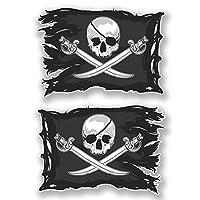 2 x 10cm Jolly Roger Skull Vinyl Stickers Crossbones Laptop Pirate Flag #6621 (10cm Wide x 7cm Tall)