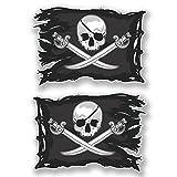 2x 10cm Jolly Roger crâne drapeau pirate Stickers muraux en vinyle Têtes de mort pour ordinateur portable # 6621 - 10cm Wide x 7cm Tall