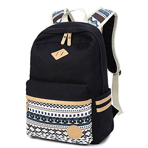 Fresion Casual Schulrucksäcke Herren/Rucksack Damen/ Universität Vintage Schule Rucksäcke mit 14 zoll Laptop-Fach für Teens Jungen Studenten (Schwarz) (Fach-schule-rucksack)