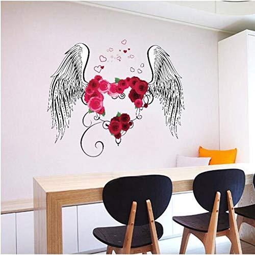4d6e156d9325f SS Sticker Mural Love Rose Feather Chambre Salon Entrée TV Mur Fond  Décoratif Wall Sticker 60