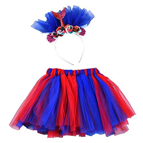 Lazzboy Mädchen Kinder Tutu Party Dance Ballett Farben Kostüm Rock + Floral Fishtail Set Mesh Regenbogen Prinzessin Performance Bow - Mädchen Harley Quinn Tutu Kostüm