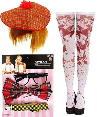 labreeze Zombie Schulmädchen Nerd Kit Schottische Hut blutige Strümpfe Halloween Kostüm - Nerd Kostüm Kit
