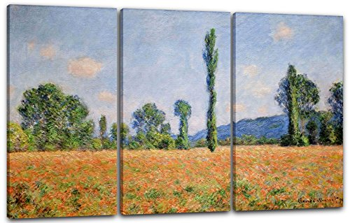 Printed Paintings Leinwand 3-teilig(120x80cm): Claude Monet - Mohnfeld Giverny -