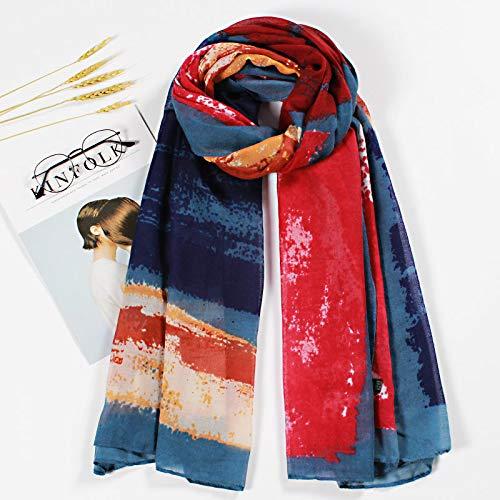 Hmeili Echarpes Printemps Et Automne Couleur Correspondant Modèles Femmes Foulards De Mode Plage Parasol Serviette De Plage Suspendu Grand Châle