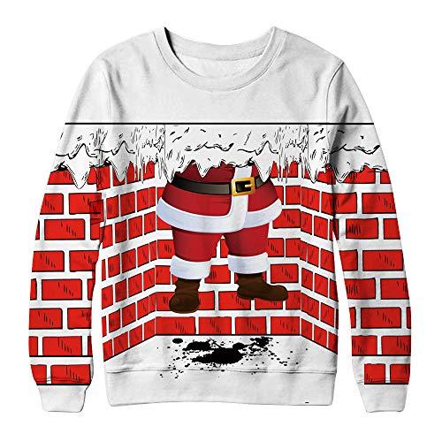 Dorical Weihnachts 3D Sweatshirt Damen Herren Winter Snowman Print Lustige Muster Oversize Lang Sweatshirt für Erwachsener Hochwertige Modische Sport Pullover Günstige Kaufen Online Promo