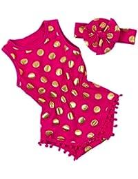 SAMGU Kids Bébé Filles Polka Dots Romper Combinaison Été Vêtements avec Bowknot Bandeau