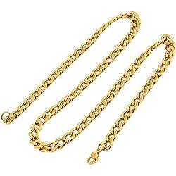 DonDon collar de acero inoxidable masivo de color oro para hombres longitud 52 cm - ancho 0,6 cm