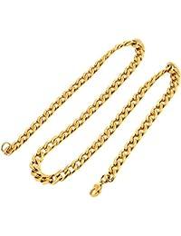 DonDon collar de acero inoxidable para hombres color oro diferentes longitudes y anchos