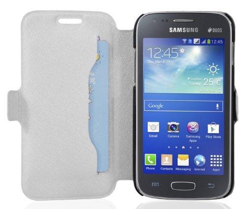 Cadorabo - Ultra Slim Book Style Hülle für Samsung Galaxy ACE 3 (GT-S7275) mit Kartenfach und Standfunktion - Etui Case Cover in ICY-WEIß