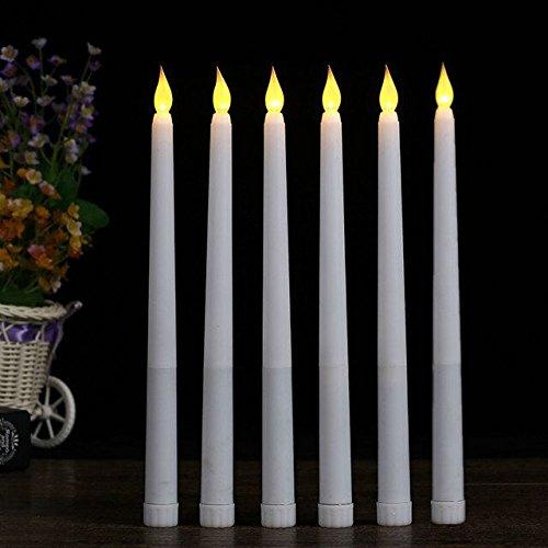 Geburtstag-kerze-sticks (lacgo (6Stück) 27,9cm LED Flammenlose Taper Kerze für Abendessen, flackernde flammenlose Kerzen, kegelförmig, batteriebetrieben LED Aufsteller Tisch Einstellungen Hochzeiten Geburtstag Partys)