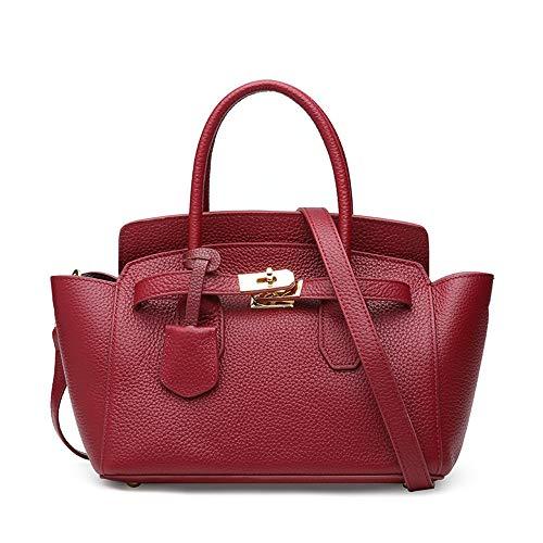 Kieuyhqk Womens Handtaschen Umhängetaschen, Leder Damen Umhängetasche Mode Einkaufstasche Casual & WorkMother's Day Geschenk Women's Casual Handbag Schulter-Handtasche (Color : Red) (Parfum Für Frauen-coach)