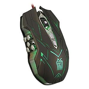 urchoiceltd® igamer–JS-X9II 9D Lasermaus 10Tasten optische USB-Gaming-Maus CF LOL WOW MMO Kabelgebundene Maus Professionelle Game Büro mit Scheinwerfer und Schwanz Tricks
