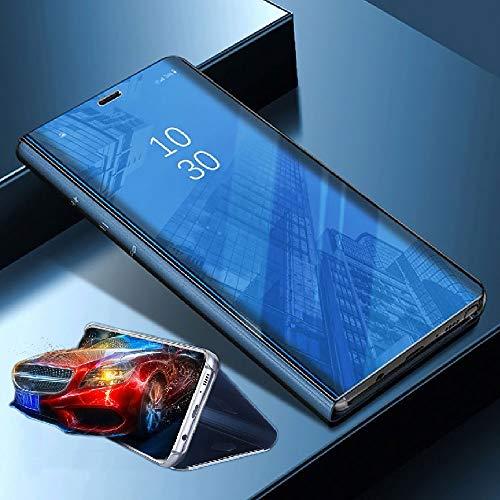 Wigento Für Xiaomi Poco Pocofone F1 Clear View Spiegel Mirror Smartcover Blau Schutzhülle Cover Etui Tasche Hülle Neu Case Wake UP Funktion