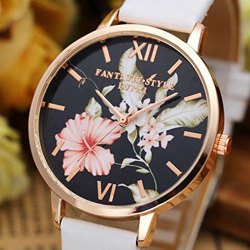 JSDDE Uhren,3er Set Vintage Blumen Armbanduhr Basel-Stil Damen Uhr Weiss PU Lederarmband Rosegold Analog Quarzuhr - 2