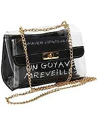BOTTLEWISE Bolso Transparente PVC Mujeres Señoras Bandolera Desigual de Hombro negro rosa marrón Plástica pequeño New York