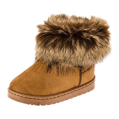 Fashionteam24 Gefütterte Mädchen Stiefel Winter Schuhe Boots mit Fell in Vielen Farben M454bn Braun 31 EU