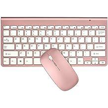 Packs de teclado y ratón, URCO ergonómico inalámbrico 2.4G teclado ultra delgado y ratón portable para el juego y el trabajo (de oro rosa) (QWERTY Layout)