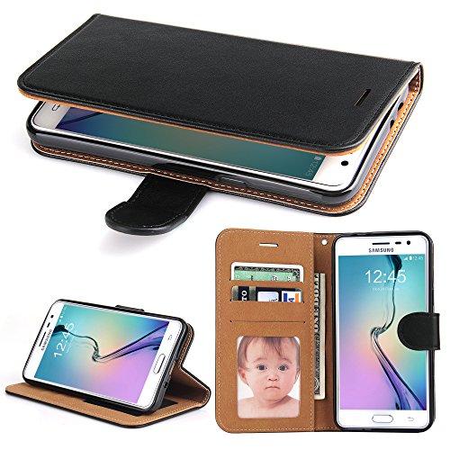 Galleria fotografica Cover Samsung Galaxy J3, SOWOKO Custodia Portafoglio in Pelle con Chiusura Magnetica/ Supporto/ Porta Carte per Samsung Galaxy J3 (2015/ 2016), Nero