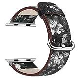 X-cool para correa apple watch 38mm Piel suave Con cierre de metal Flor Banda para Apple Watch