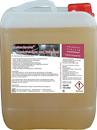 Mastercleaner Spülmaschinen und Waschmaschinenreiniger und Entkalker mit Aktivschaum ohne Biozide10 Liter