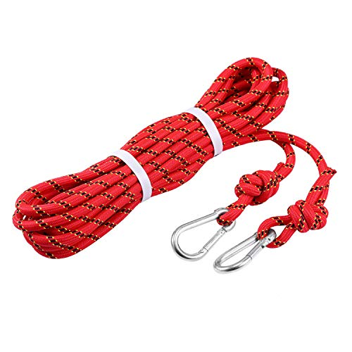 Babimax 10mm Kletterseil Sicherheitsseil Bergseil Polyester mit 2 Karabinerhaken Tragegewicht 300kg CE Zertifiziert für Outdoor Überleben Wanderung Bergsteigen, Rot (15M)