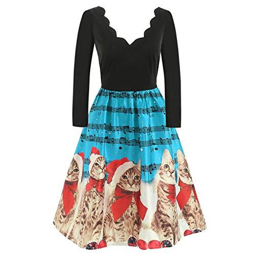 (OverDose Damen Frohe Weihnachten Stil Frauen Vintage Print Langarm Weihnachten Abend Party Cosplay Elegante Slim Swing Kleid Geschenk)