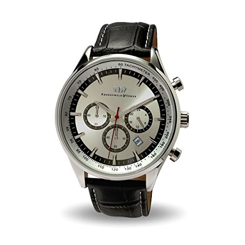 Rhodenwald & Söhne Eastwood Herren-Uhr Chronograph Edelstahl Silber mit Lederarmband schwarz 5 ATM - Totalisator Tachymeter Flieger-uhr Optik
