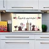 JAYSK Glasgeschirr wasserdicht Fett Alufolie Ölaufkleber Wandaufkleber Küchenfliese Aufkleber Wandaufkleber 75 * 45cm