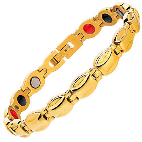 YOLANDE Damen Edelstahl Magnetische Armband, Leistungsstarke 3000 Gauß Magneten, mit gratis Geschenk geldbörse -