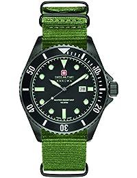Swiss Military Reloj de hombre de cuarzo con Negro esfera analógica pantalla y correa de nylon color verde 6–4279.13.007