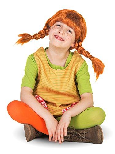Original Pippi Langstrumpf Perücke für Kinder - rote Haare mit 2 (Rothaarige Perücken)