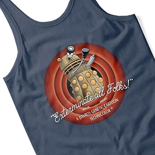 Loony Toons Doctor Who Exterminate All Folks Men's Vest Navy Blue