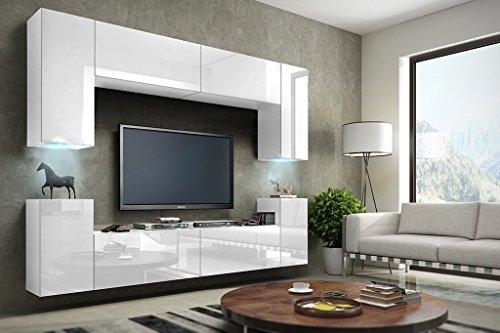 HomeDirectLTD Future 1 Moderne Wohnwand, TV-Schrank, Schrankwand, TV-Element Anbauwand, Neue Garnitur, Große Farbauswahl (RGB LED-Beleuchtung Verfügbar) (Weiß MAT Base/Weiß HG Front, RGB Led)