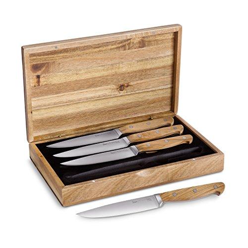 *Steakmesser-Set Stan 4 Stück mit edlen Olivenholz-Griffen Steak-Messer-Set mit hochwertigen Holzgriffen, 12,5 cm Klingenlänge aus deutschem Stahl, sehr robust inkl. Geschenkbox*