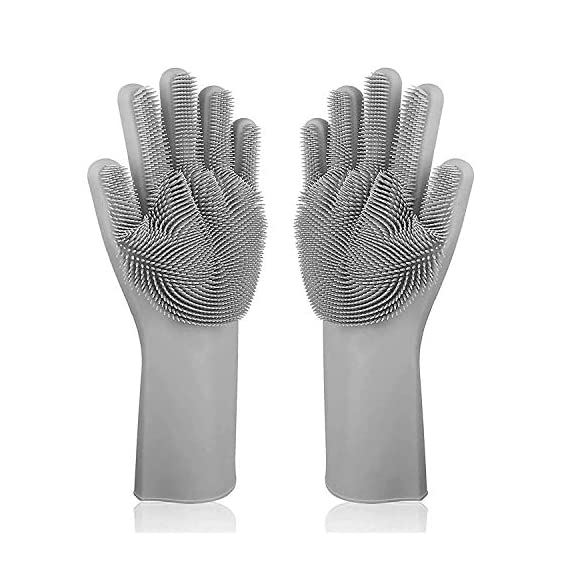 Cellphonez? Dish Washing Silicon Hand Gloves with Scrubber for Kitchen Cleaning, Utensils, Bath and pet Hair Care - Reusable Heat Resistance and Water Proof Gloves - (Multicolor)