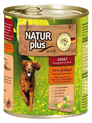 NATUR plus Hundefutter ADULT mit 70% Geflügel (6 x 800 - Hundefutter Natur Plus