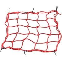 GOOFIT 38,1x 38,1cm Gummizug Bungee Gepäck Cargo Net mit Haken halten Sie für Motorräder Motorrad geländefahrzeugen Fahrrad Cars Trucks (rot)